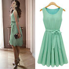 Retro 50s Mint Green Sleeveless Belted Pleat Chiffon Skater Dress 8 10 12 14 16