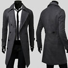 Mans Double Breaste Blazer Jacket Military Vintage Windbreaker Long Trench Coats