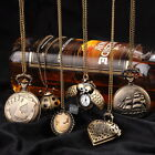 Retro Vintage Bronze Display Pocket Watch Metal Necklace Chain  Quartz Pendant