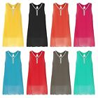 LADIES LONG SLEEVELESS DIAMANTE TUNIC BOW PIN WOMEN TOPS CHIFFON VEST SZ 8-18