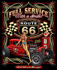 Full Service with a Smile Route 66 Hot Rod with Babe T-Shirt