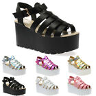 24M WOMENS CLEATED SOLE LADIES GLADIATOR PLATFORM WEDGES SANDALS SHOES SIZE 3-8