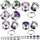 2x Gauge Steel CZ GEM Crystal Screw Tunnels Ear Plug Expander Stretcher Piercing