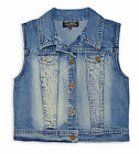 Girls Blue Denim Waistcoat Kids Sleeveless Jacket New Age 2 3 4 5 6 7 8 10 Years