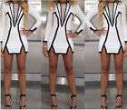 2014 Women Spring Summer Black and White Geometric Mini Sexy Party Pencil Dress