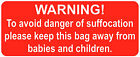 Warning Danger Of Suffocation Stickers Safety Labels 20 x 50mm Bright Red