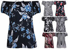 Womens Printed Short Sleeve Ladies Off Shoulder Tie Ribbon Gypsy Top Plus Size