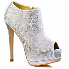 NEW Womens Silver High Heel Crystal Sparkly Stiletto Peep Toe Shoe Booties Size