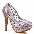 NEW Womens Silver Cut Out Mesh Lace Rhinestones Crystal Stiletto Pumps Shoe Size