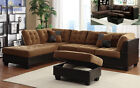 Microfiber sectional couch Leather sofa furniture In 2 color 3Pc Living room set