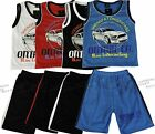 Boys Shorts & Vest Top Full 2 Piece Outfit Car Theme Kids Clothes Ages 2-10 year