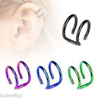 SEXY TITANIUM IP SURGICAL STEEL CARTILAGE DOUBLE CLOSURE CLIP EAR CUFF RING