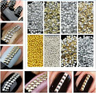 Gold & Silver 1000pcs Stud Nail Art 3D Design Decoration Stickers Metallic Studs
