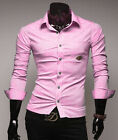 Luxury Hot Men Youth Formal Solid Leisure Shirt Casual Dress Shirt Slim Fit Tops