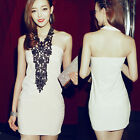 Sexy Women Backless Chic Party Cocktail Lace Halter Sheath Clubwear Mini Dress