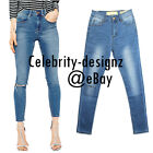 jn37 Celebrity Style Super Low-rise Skinny Leg Ripped Knee Jeans Pants