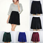 Vintage Velvet High Waist Stretch Pleated Jersey Plain Skater Flared Mini Skirt