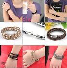 Unisex PU Leather Braided knitted Woven Clasp Cord Rope Cuff Bracelet Necklace