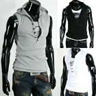 New Men Casual Slim Fit Sleeveless Hoodie T-shirt Sport Beach Hat Vest Tank Tops