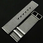 20/22/24mm Silver Stainless Steel Mesh Watch Band Strap Bracelet Pin Buckle