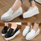Ladies Thick Cleated Sole Platform Creepers Faux Leather Casual Walking Shoes
