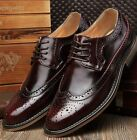 Fashion Mens Dress Oxfords WingTip Faux Leather Pointed Toe  Lace Up Dress Shoes