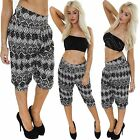 New Ladies 3/4 Cropped Large Aztec Print Ali Baba Harem Trousers Pants Plus Size