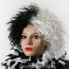 EVIL DOG LADY WIG HALF BLACK WHITE VILLAIN BOOK CHARACTER FANCY DRESS COSTUME