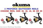 3 OKUMA PROFORCE BAITFEEDER REELS FOR CARP PIKE FLOAT FEEDER MATCH SPINNING ROD
