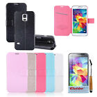 Silk Stripe PU Leather Wallet Flip Stand Case Cover For Samsung Galaxy S5 i9600