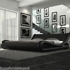 """NEW ENZO BED - Hf4you  Milano Italian Faux Leather Bed - 4ft 6"""" Double - Brown"""
