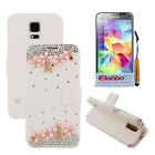 3D Rhinestone White PU Wallet Flip Stand Case Cover For Samsung Galaxy S5 i9600