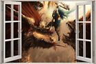 Huge 3D Window Fantasy Creatures Warrior View Wall Stickers Decal Mural