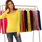 Plain Ladies T-Shirt Long Sleeve Cotton Top Stretchy Slip Fitted Blouses sz 8 10