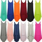 Ladies Plain Long Tank Dress Summer Calf Length Mullet Sundress Cotton Dresses