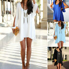 2014 Sexy New Womens Loose Round Neck Strapless A-line Casual Skirts Mini Dress