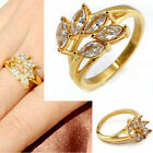 Chic Women Lady Golden Stainless Steel Flower CZ Crystal Cocktail Band Ring Gift