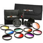 52mm to 77mm 9pcs Graduated Color Filter Kit Lens Hood Pen Cap For Canon Nikon