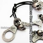 Antique Vintage Skull handcuffs Mens Genuine Leather Necklace Charm Pendant Gift
