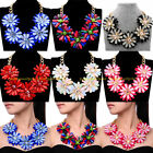 Fashion Gold Chain Multicolors Flower Resin Crystal Acryl Statement Bib Necklace