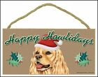"Cocker Spaniel Dog 10"" x 5"" Happy Howlidays Sign"