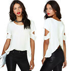 New Fashion Sexy Women Chiffon Crew Neck Short Sleeves Casual Shirt Blouse Tops