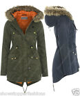 NEW Womens Faux Fur Hood PARKA Ladies WAX JACKET COAT FISHTAIL Size 8 10 12 14