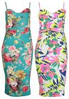 Womens Floral Print Ladies Strappy Camisole Bodycon Swing Midi Dress Plus Size