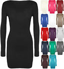 Neu Damen Langärmelig Stretch Bodycon Damen Einfarbig Kurz Minikleid Top 8-14