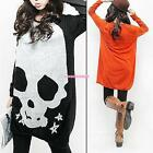 Black / Orange Ladies Long Sleeve Skull Loose Round Neck Knitwear Sweater Dress