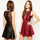 Fashion Women Faux Leather Look Mesh Open Back Sleeveless Bodycon Clubwear Dress