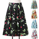 50s Vintage Floral Cotton High Waist Pleated Midi Skirt Pinup Dance Swing Skirts