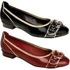 Women's Low Heel Gold Silver Trim Patent Shiny Front Buckle Ladies Flats Shoes