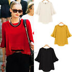 Womens Fashion Autumn Tops Flounced 3/4 Sleeve Crew Neck Blouse T-Shirts S-XL